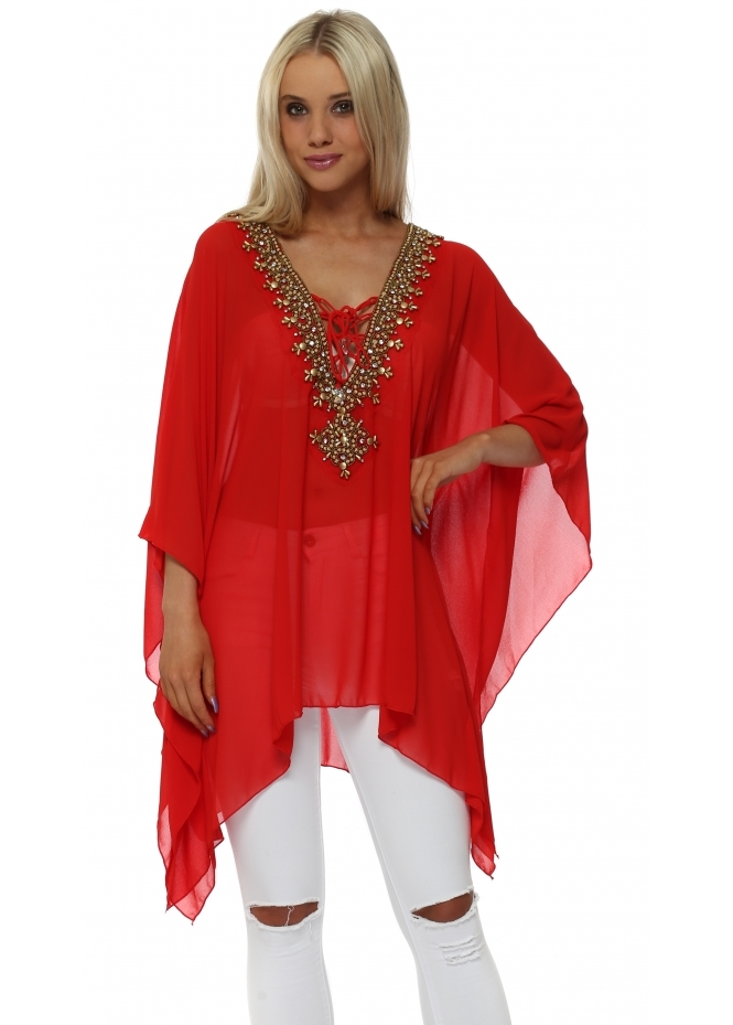 French Boutique Red Gold Beaded Diamante Kaftan Top