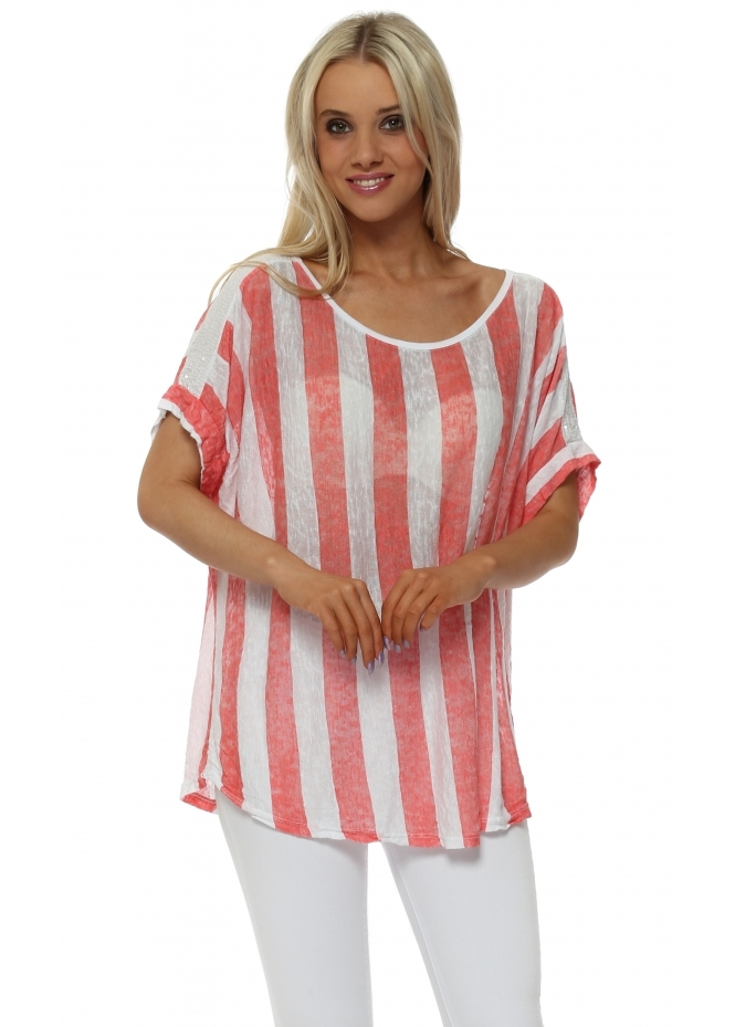 Made In Italy Coral Stripe Slub Knit Sequinned Top
