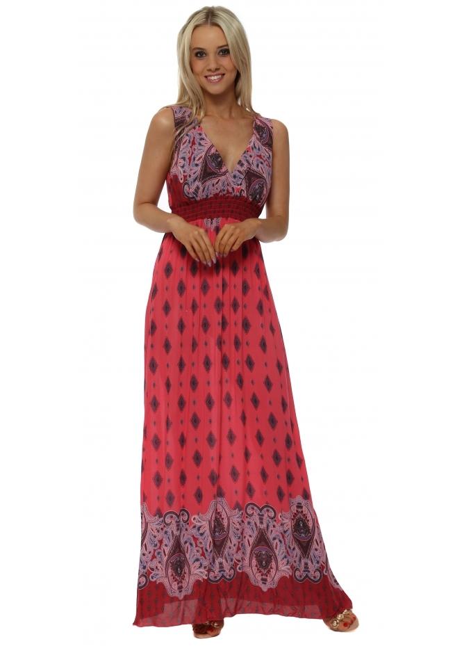 Monton Pink Paisley Print Cross Over Maxi Dress