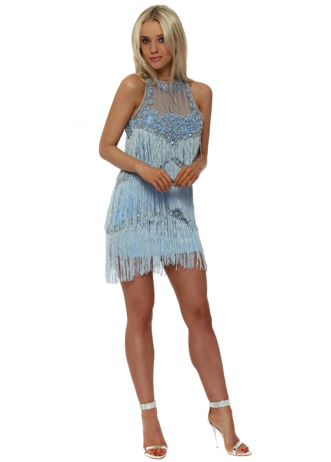 Starry Eyed EXCLUSIVE Blue Tassel Mini Dress With Pearl Neckline