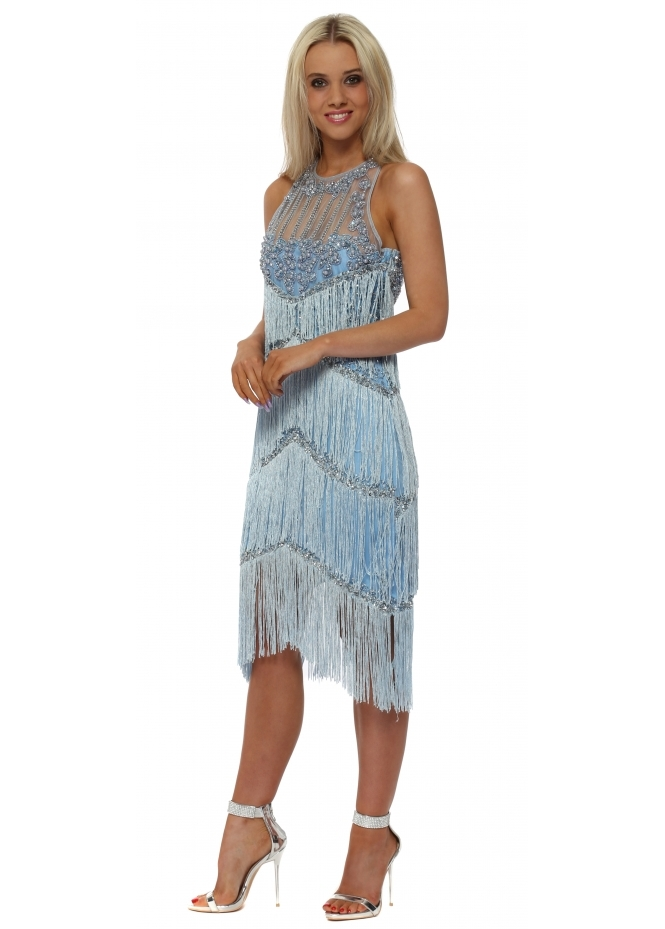 Starry Eyed EXCLUSIVE Blue Tassel Midi Dress With Pearl Neckline