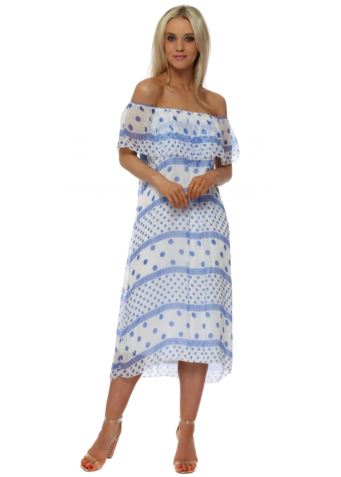 Made In Italy White & Blue Spot Silk Bardot Dress