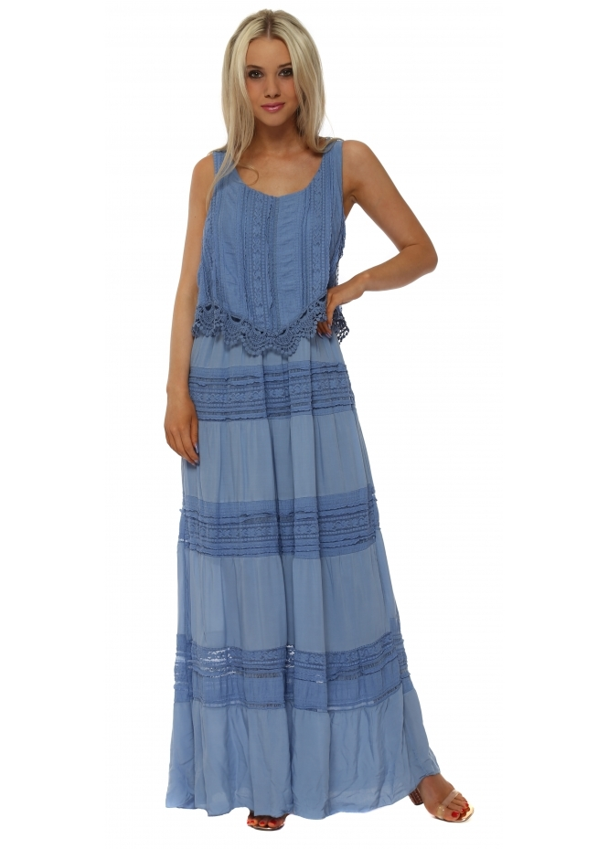Monton Cornflower Blue Lace Panel Maxi Dress