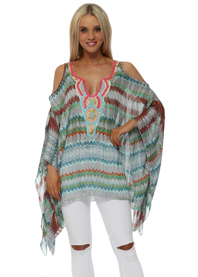 Troiska Green Zig Zag Embellished Cold Shoulder Kaftan Top
