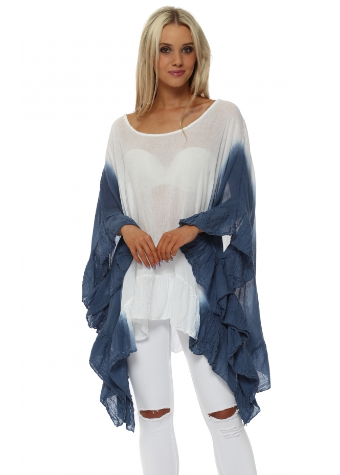 Made In Italy Navy Blue Dip Dye Oversized Ruffle Tunic Top