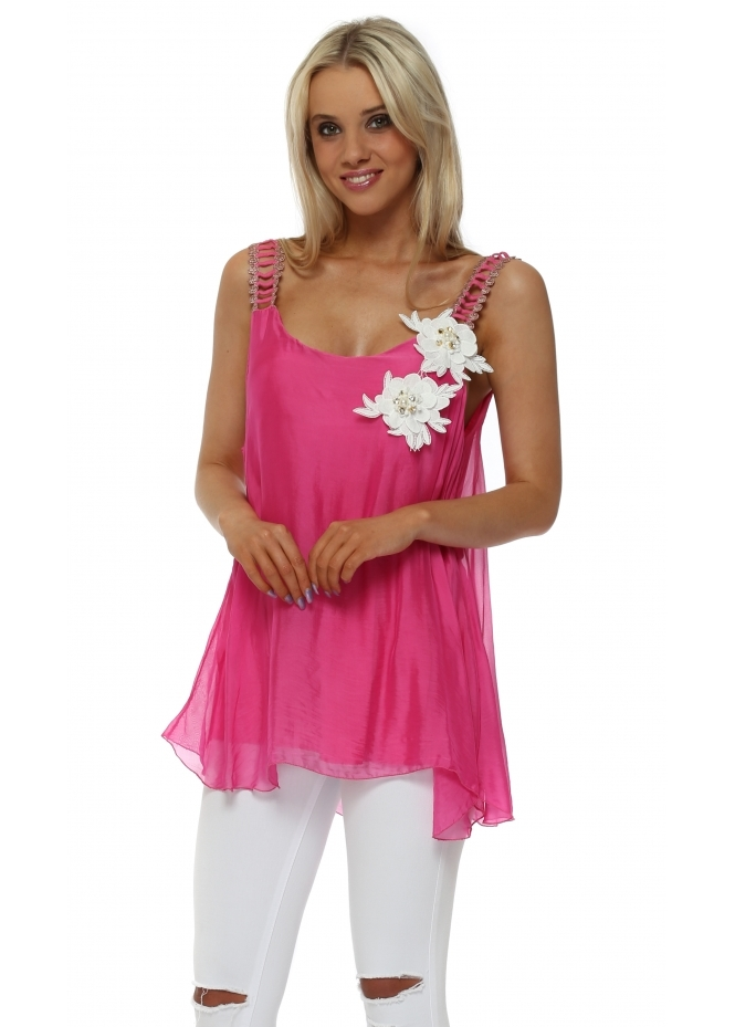 J&L Paris Hot Pink Silk Flower Gold Embellished Vest Top