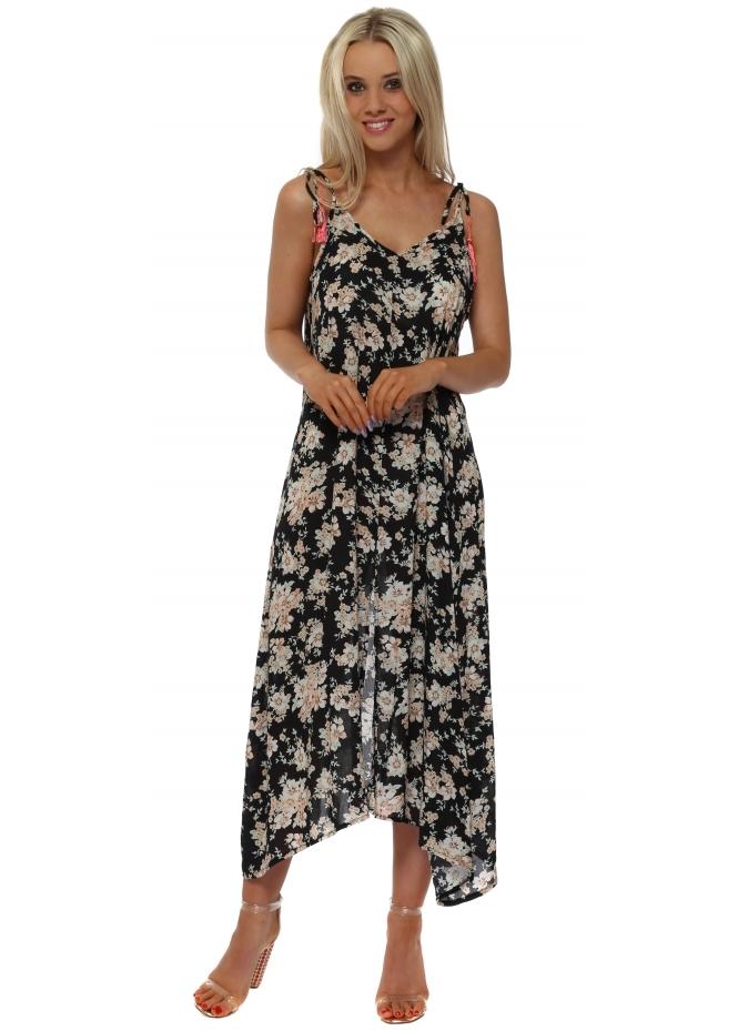 Monton Black Ditsy Print Dress With Tassel Detail