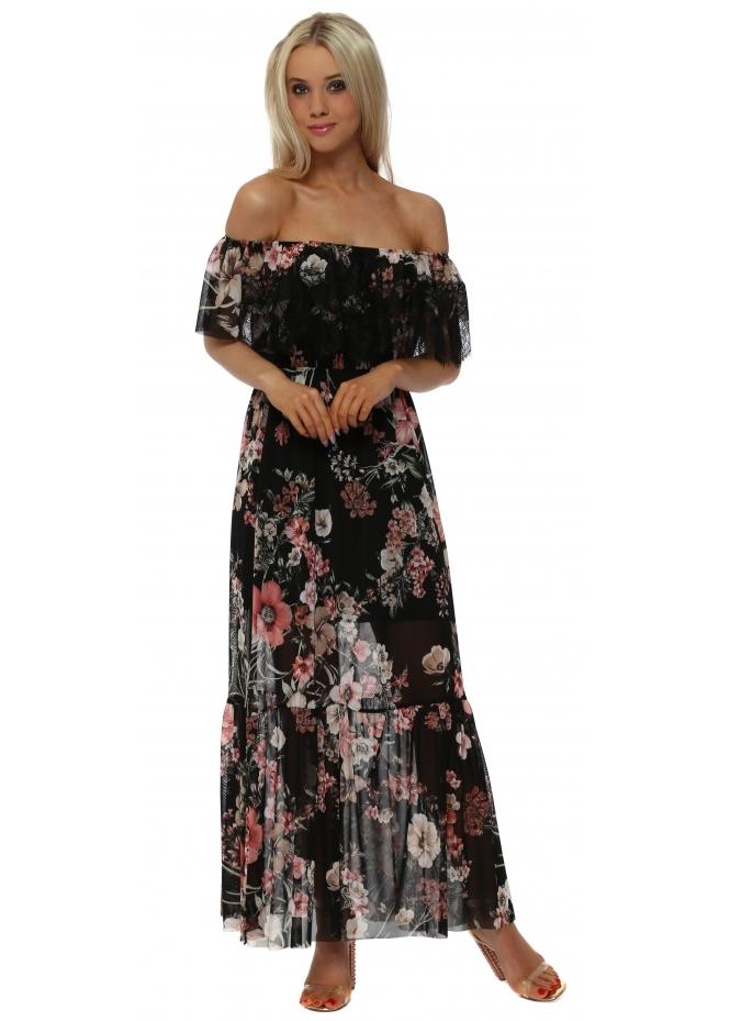 Monton Floral & Lace Bardot Black Maxi Dress