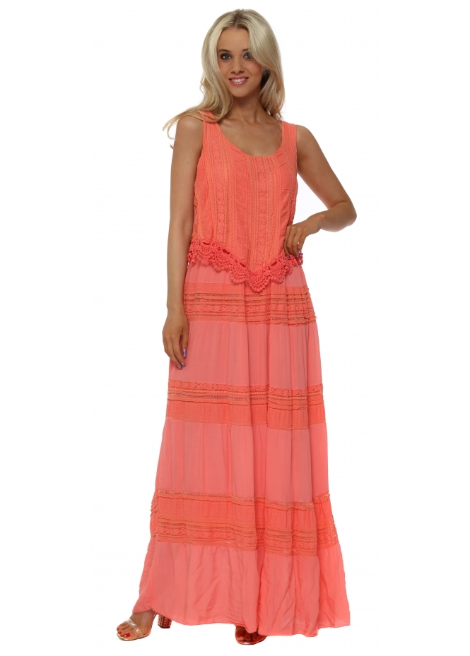 Monton Coral Lace Panel Maxi Dress
