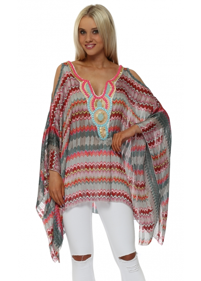 Troiska Pink Zig Zag Embellished Cold Shoulder Kaftan Top
