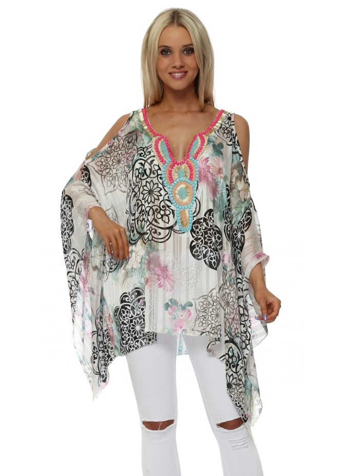 Troiska Floral Print Embellished Cold Shoulder Kaftan Top