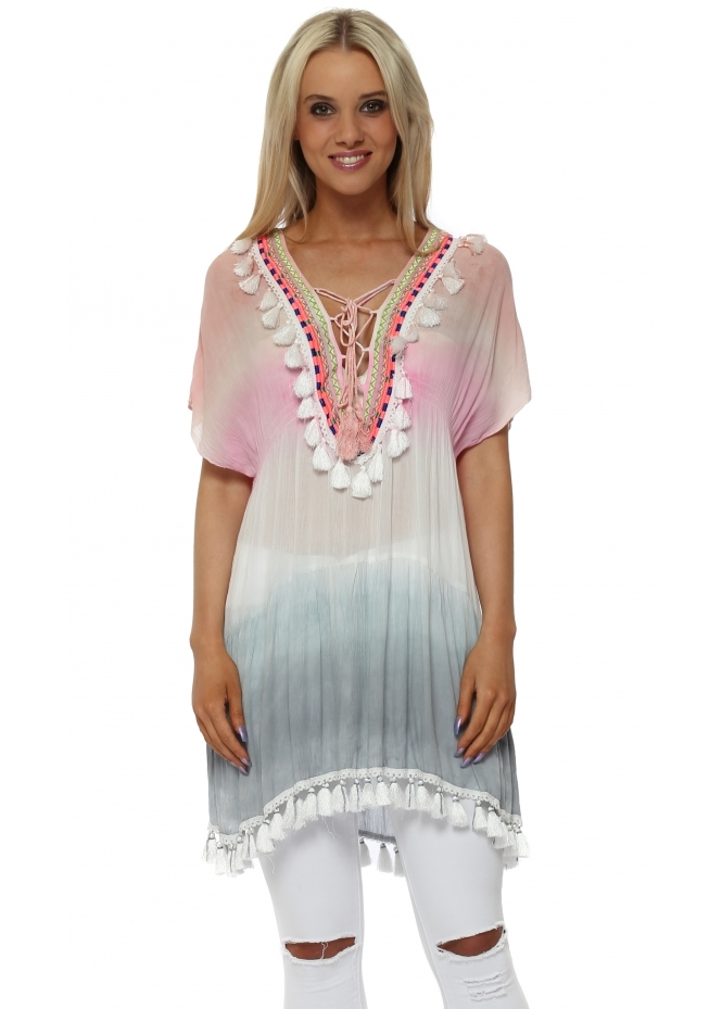 J&L Paris Pink Dip Dye Embroidered Tassel Cotton Kaftan