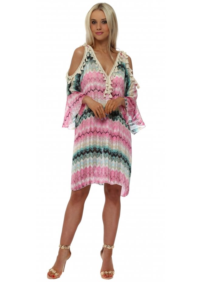 Troiska Aqua & Pink Zig Zag Cold Shoulder Tunic Dress