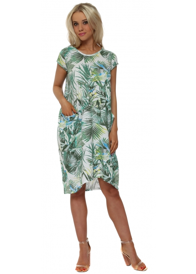 Italian Boutique Green Palm Print Pocket Tunic Dress