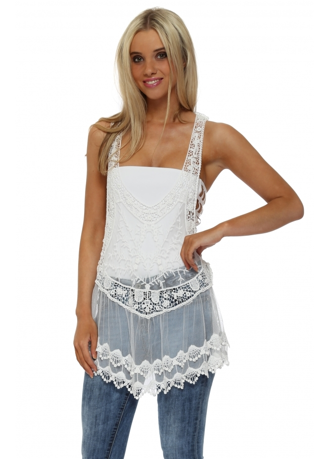 Made In Italy White Crochet Lace Vest Top