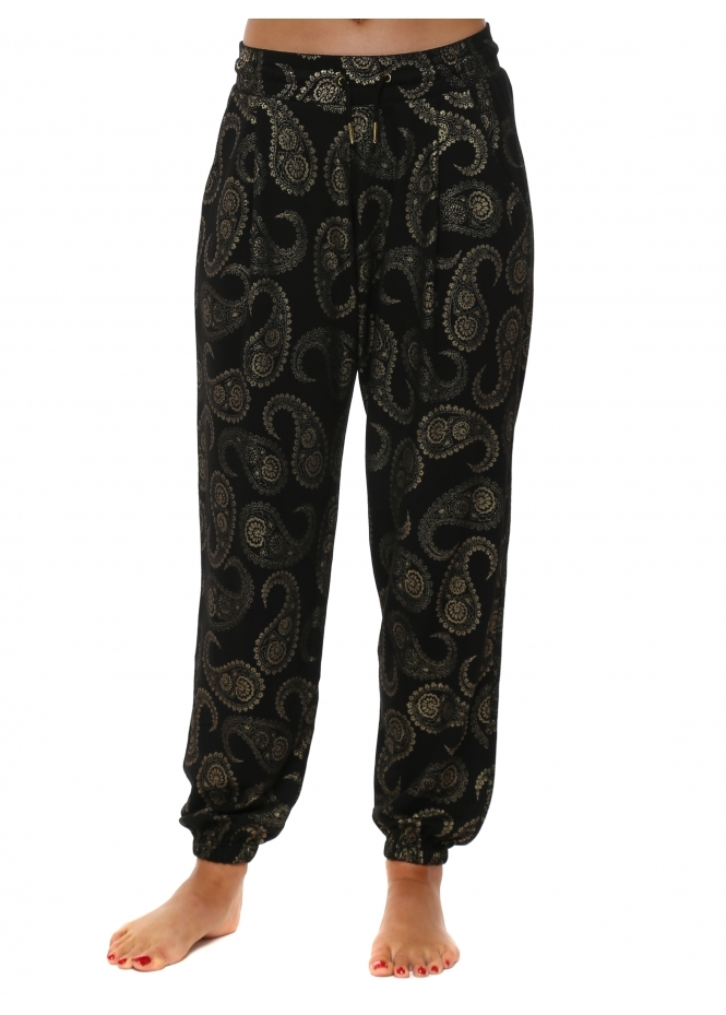 A Postcard From Brighton Patti Black Gold Paisley Print Jogger Pants