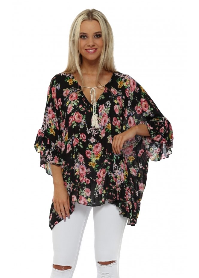 Italian Boutique Black Floral Print Ruffle Sleeve Tie Top
