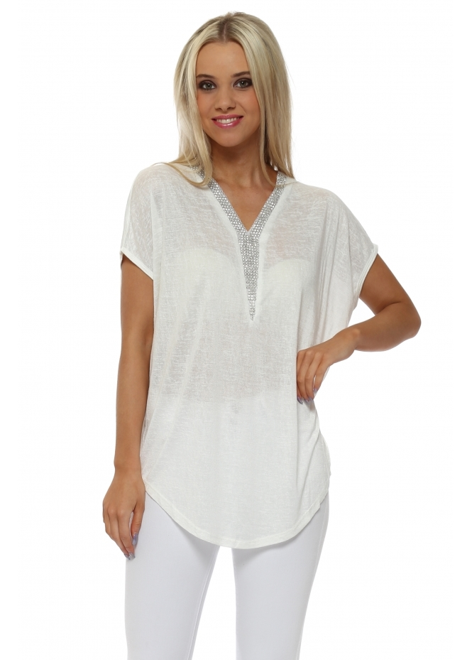 French Boutique White Fine Knit Crystal V Neck Top