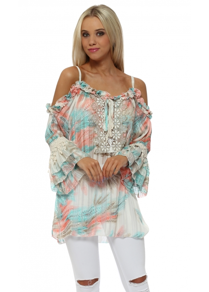 My Story Pastel Province Printed Ruffle Cold Shoulder Top