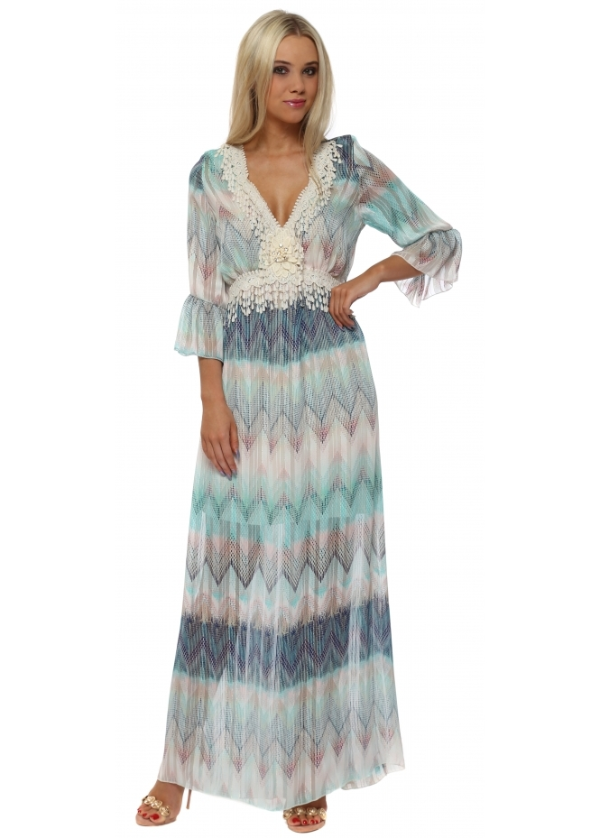 My Story Aqua & Blue Zig Zag Crochet Maxi Dress