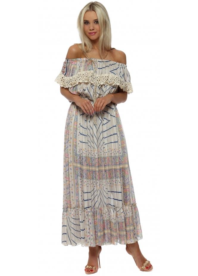 Laurie & Joe Paisley Chiffon Bardot Maxi Dress
