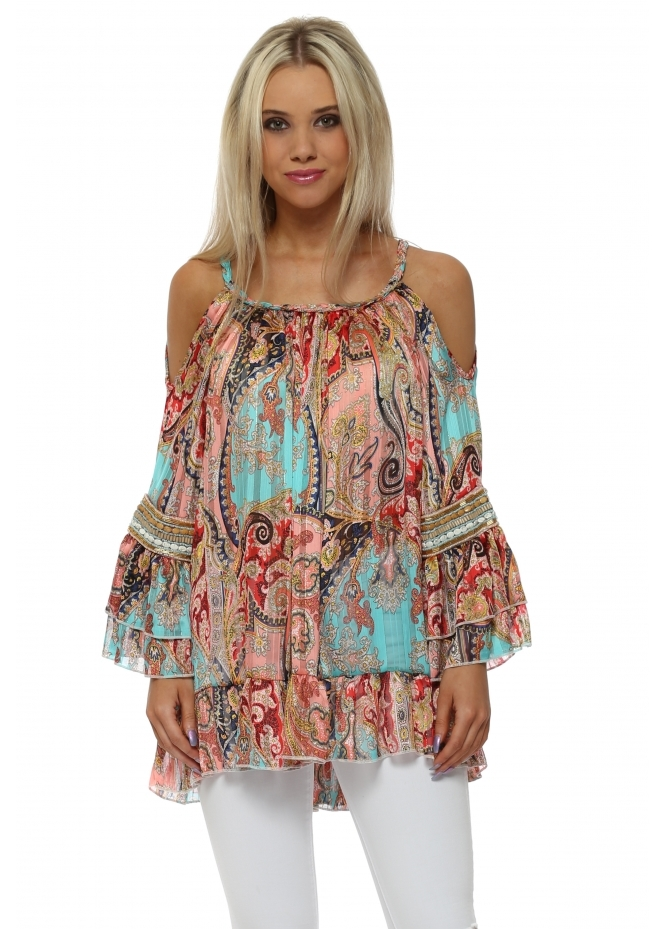 My Story Aqua & Coral Paisley Beaded Cold Shoulder Top