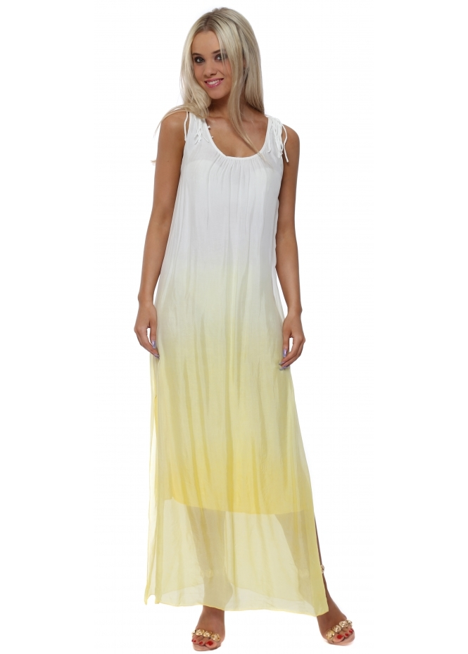 Italian Boutique Crochet Back Lemon Dip Dye Silk Maxi Dress