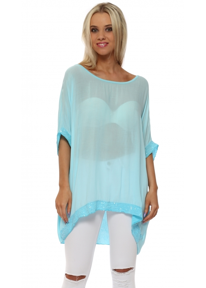 Made In Italy Aqua Sequinned Oversized Slouch Top