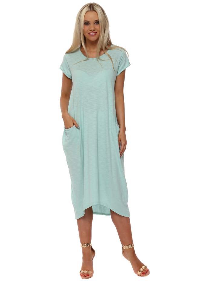 Made In Italy Mint Cotton Oversized Pocket Dress