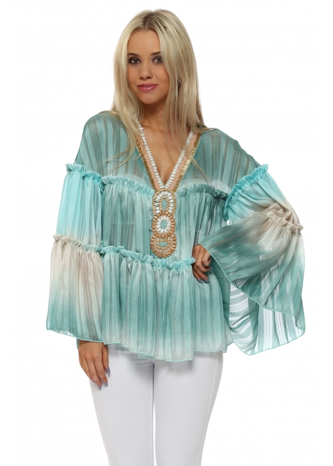 Monaco Blue Ombre Chiffon Beaded Top