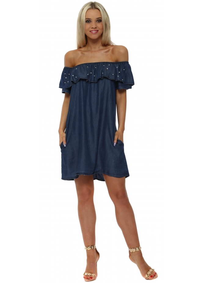 Monton Denim Blue Pearl Detail Bardot Mini Dress