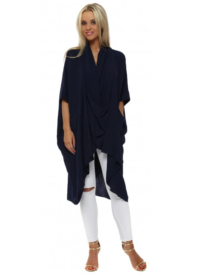 Made In Italy Navy Blue Cotton Draped Oversized Top