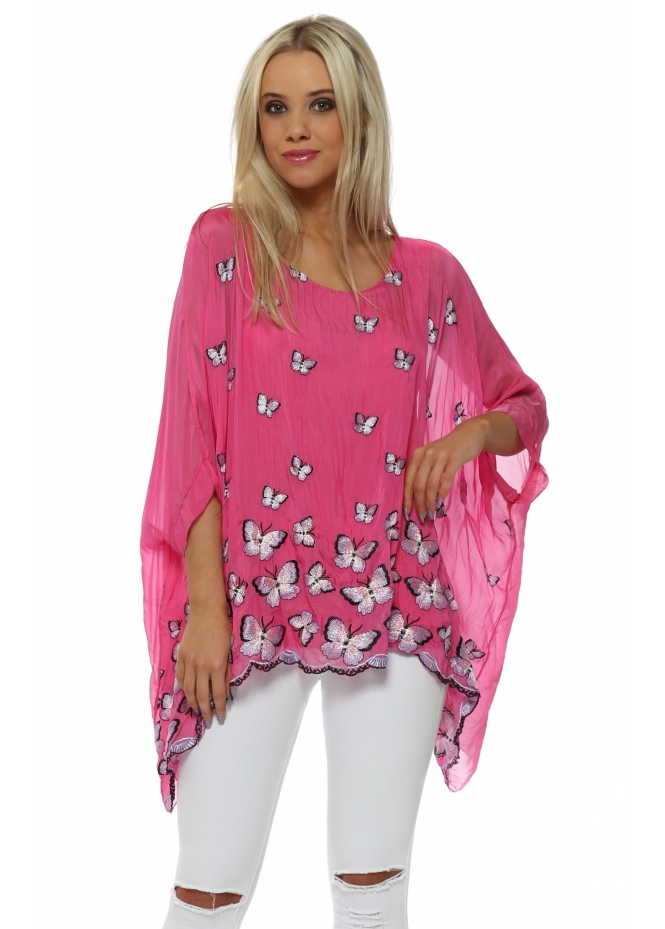 Made In Italy Fuchsia Silk Butterfly Embroidered Batwing Top