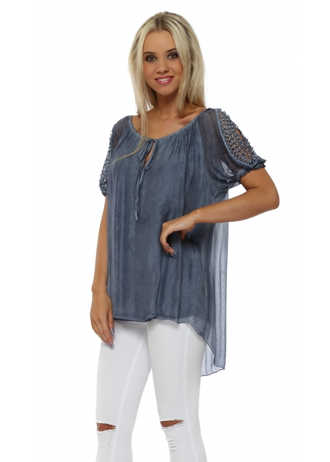 Made In Italy Denim Blue Silk Pearl Cold Shoulder Top