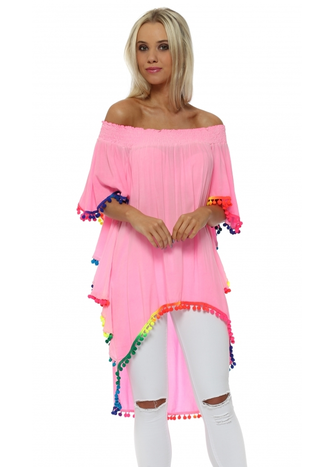 Made In Italy Neon Pink Off The Shoulder Rainbow Pom Pom Top