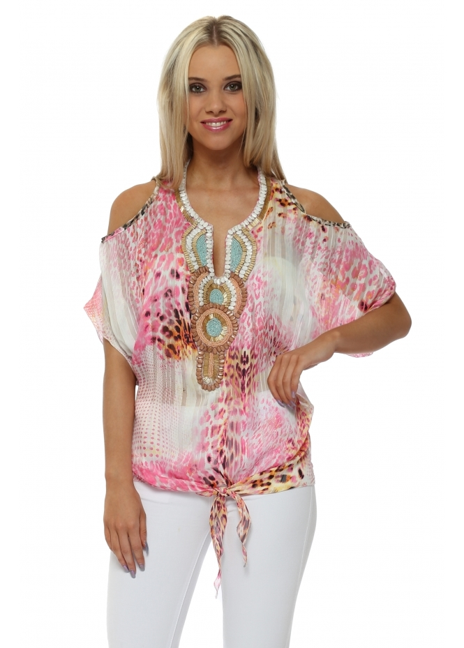 French Boutique Fucshia Leopard Print Beaded Cold Shoulder Top