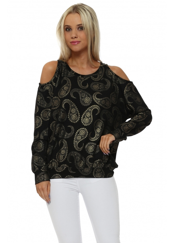 A Postcard From Brighton Perrie Black Gold Paisley Cold Shoulder Sweater