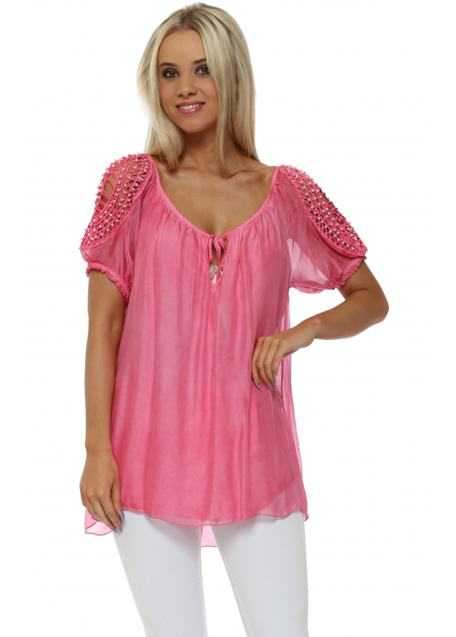 Made In Italy Fuchsia Silk Pearl Cold Shoulder Top