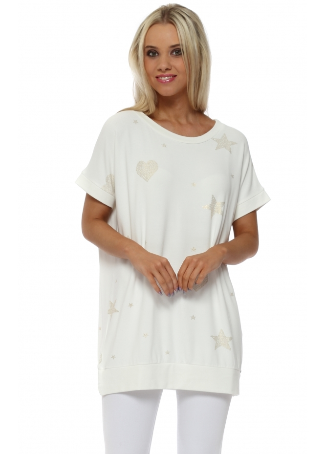 A Postcard From Brighton Gwen Vanilla Gold Heart & Star Sleeveless Sweater