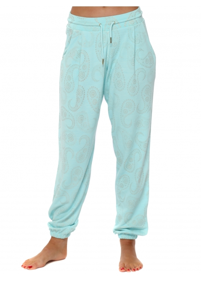 A Postcard From Brighton Patti Paradise Blue Gold Paisley Print Jogger Pants