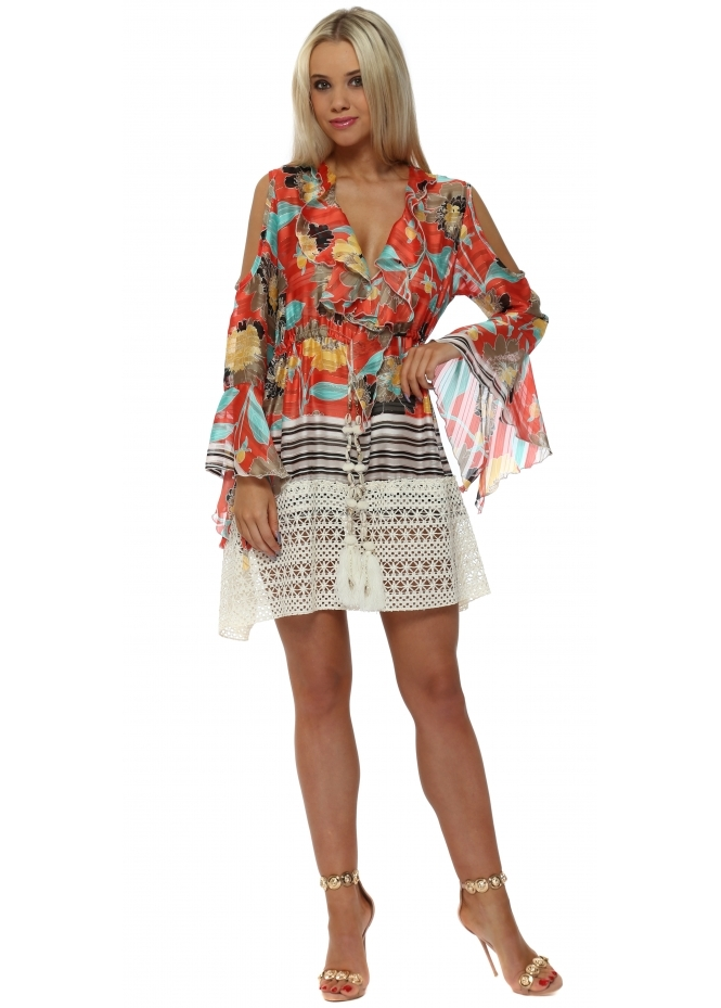 Laurie & Joe Orange Floral Chiffon Ruffle Mini Dress