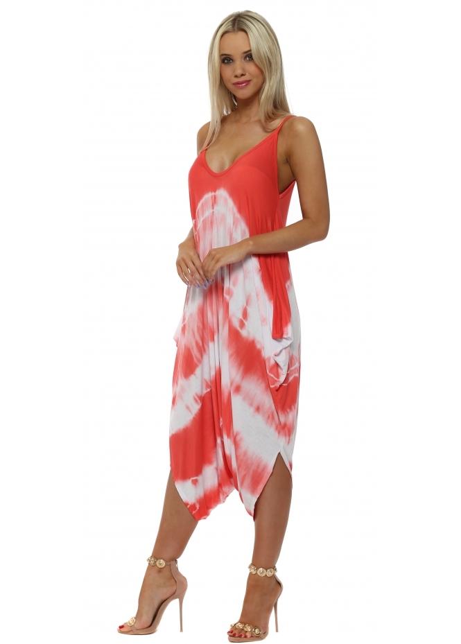 French Boutique Coral Tie Dye Jersey Harem Parachute Jumpsuit
