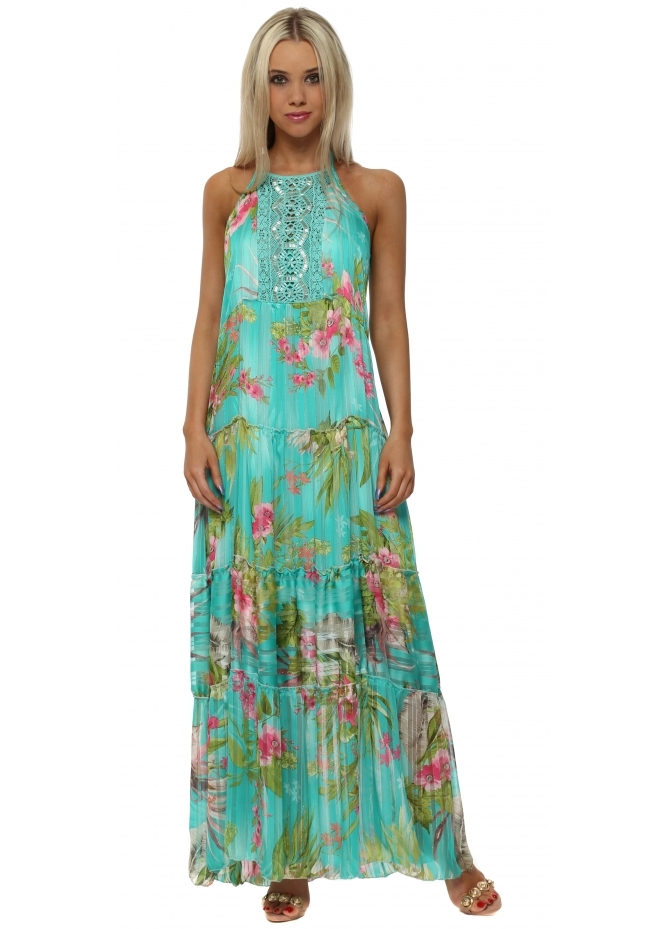 My Story Turquoise Tropical Print Chiffon Maxi Dress