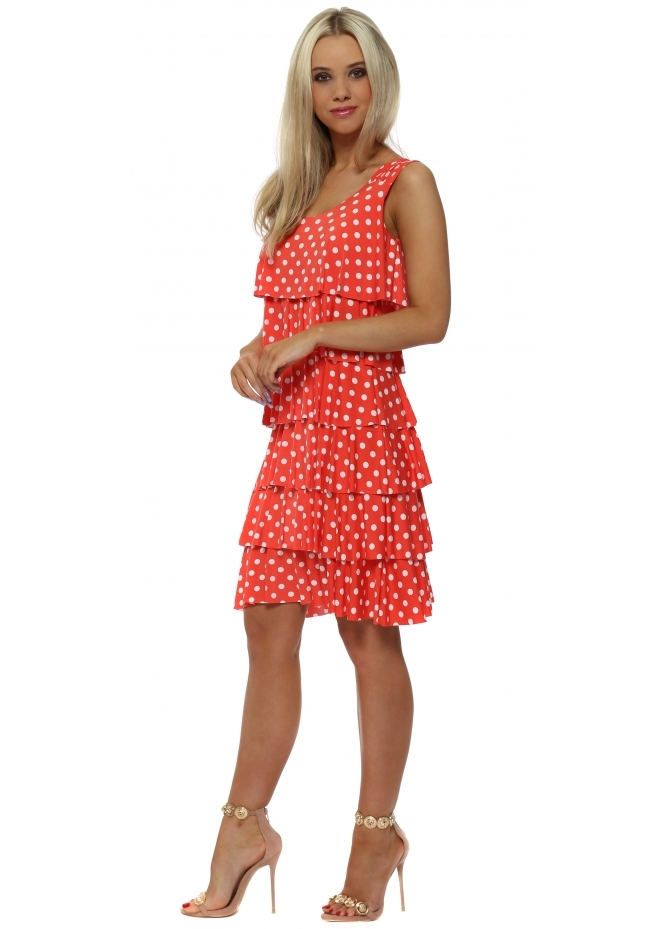 Lonkel Coral Red Spotty Layered Shift Dress