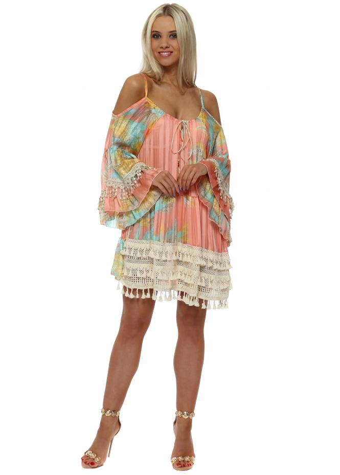 My Story Candy Province Boho Cold Shoulder Tunic Top