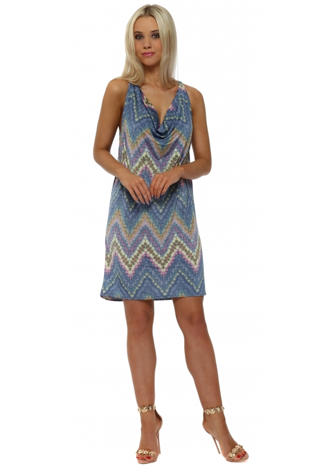 French Boutique Blue Zig Zag Cowl Neck Dress