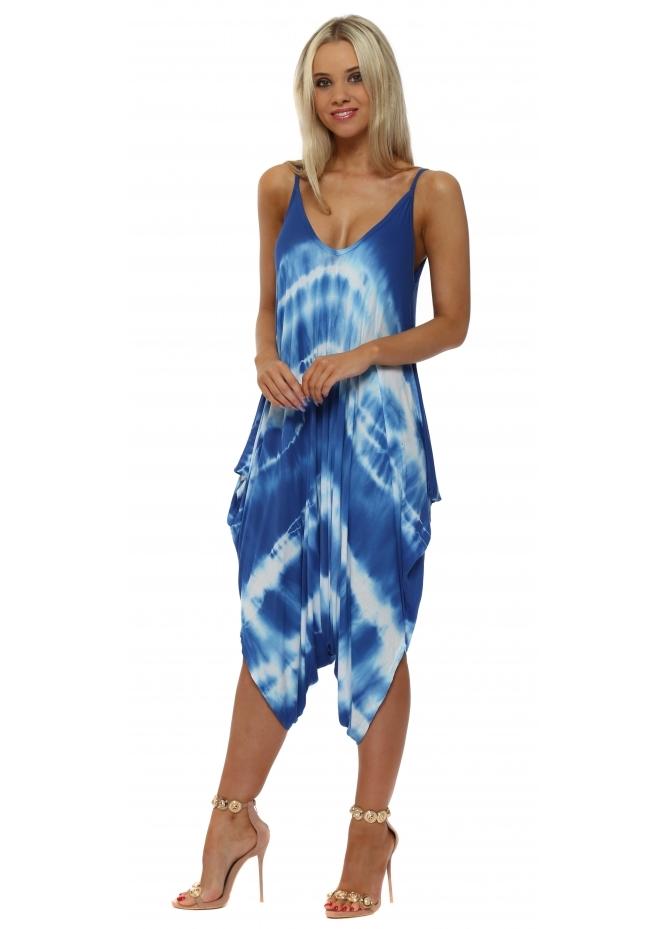 French Boutique Ocean Blue Tie Dye Jersey Harem Parachute Jumpsuit
