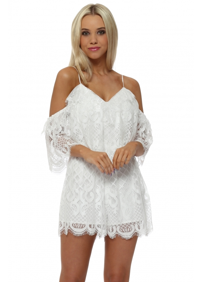 French Boutique White Lace Cold Shoulder Playsuit