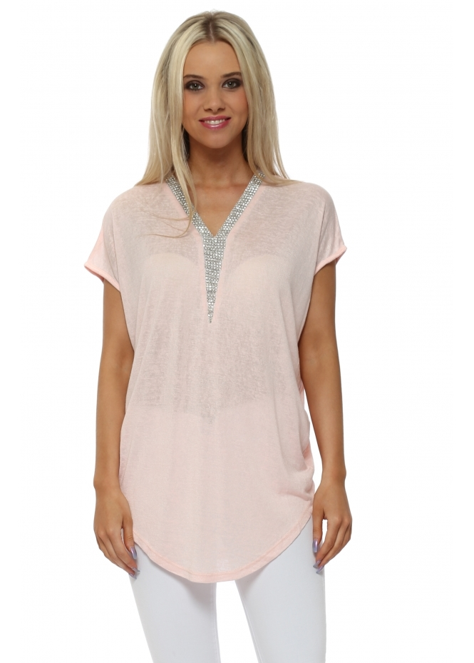 French Boutique Baby Pink Fine Knit Crystal V Neck Top