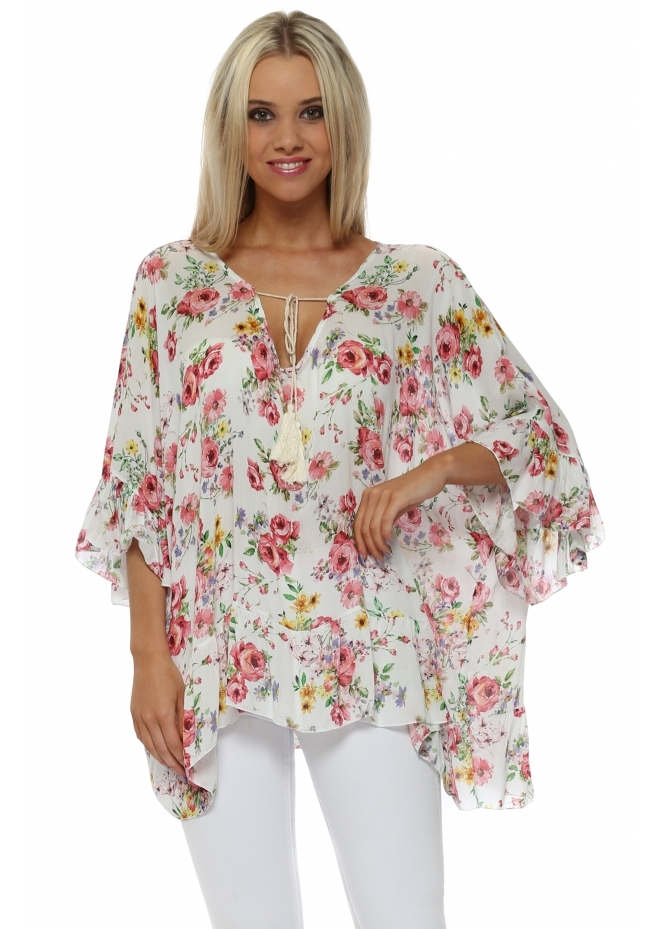 Italian Boutique White Floral Print Ruffle Sleeve Tie Top